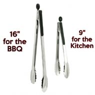 TWO black handled stainless steel lockable Food Cooking Tongs.